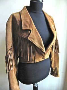 Brown Suede Fringe Cropped Western Jacket by worldvintagefashion on @Etsy