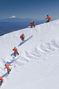 Snowboarding ... Towards Mt Taranaki, North  Island, New Zealand