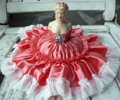 Antique vintage chalkware half doll pincushion❤❤❤-have to get mine out and use it!!!