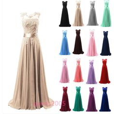 Long Chiffon Bridesmaid Formal Gown Ball Party Cocktail Evening Prom Maxi Dress #Handmade #BallGown #Formal
