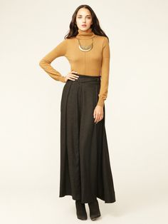 Flared Wool Maxi Skirt by L.A.M.B.   Love long sweeping skirts!!!