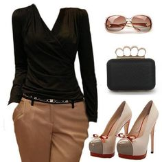 Color Cafe y negro Classy Outfits, Stylish Outfits, Cute Outfits, Fashion Outfits, What To Wear Today, How To Wear, Diva Fashion, Womens Fashion, Timeless Fashion