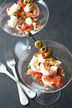 Shrimp Martini Appetizer Recipe with Tomato, Olives & Jalapeno Pepper