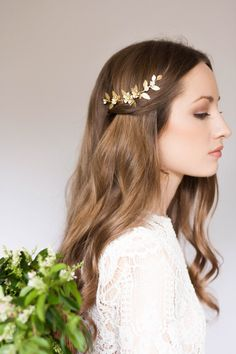 Delia flower and leaf comb, bridal flower comb, bridal flower clip, gold leaf headpiece, gold flower headpiece, bohemian #226