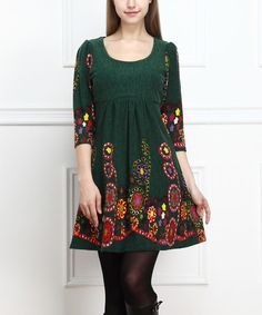 Love this Reborn Collection Forest Green Floral Three-Quarter Sleeve Dress by Reborn Collection on #zulily! #zulilyfinds
