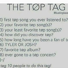 1-fake you out 2-anathema,lovely,truce,message man,slowtown,air catcher 3-I don't have one tbh 4-I was in a chat room THING and someone told me about them. 5-about 4 years 6-BOTH 7-Regional or self titled 8-yeah on July 1st this year and I'm seeing them again feb 28
