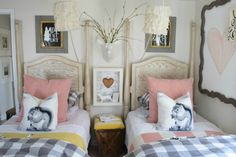 Cute girls bedroom with two twin beds - love the squirrel pillows eclecticallyvintage.com