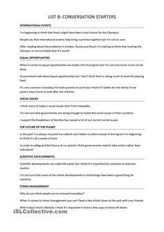 Trinity GESE Grade 10: Conversation Starters