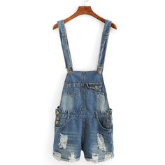 Distressed Rolled Hem Overall Denim Shorts ($18) ❤ liked on Polyvore featuring shorts, pants, blue, ripped jean shorts, denim overalls shorts, denim short overalls, blue shorts and denim jean shorts