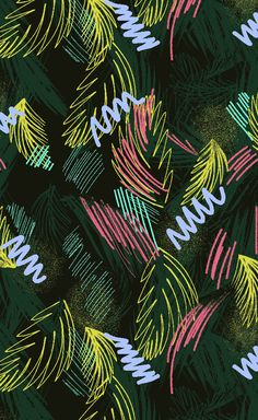 tropical house plant Neon Jungle print by Catarina Guerreiro. Tropical foliage meets retro mark making, coloured in acid pinks and yellows. Fashion Background, Retro Background, Tropical Background, Background Ideas, Neon Jungle, Jungle Print, Textures Patterns, Print Patterns, Jungle Vibes
