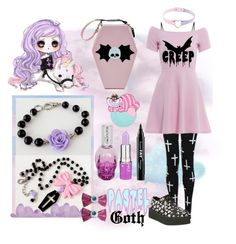 """Pastel Goth 1"" by marielecastan ❤ liked on Polyvore featuring AX Paris, Lime Crime, NYX, T.U.K., Kreepsville 666, women's clothing, women's fashion, women, female and woman"