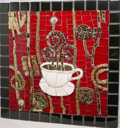This coffee mosaic would look perfect in my kitchen! tank you. I am so going to do this one.