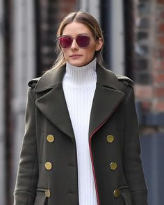 Olivia Palermo in a green coat out in Brooklyn, January 6, 2017