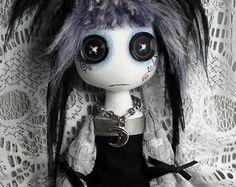 Button eyed Gothic cloth art doll medium by StrangeLittleGirlsUK