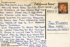 Postcard from Christopher McCandless aka Alexander Supertramp, to Jan Burnes. If Chris would have survived, he would have continued to send postcards. Alex Supertramp, Teaching American Literature, Christopher Mccandless, San Diego Skyline, Awake My Soul, Joy Of Life, His Travel, Journal Entries, Great Movies