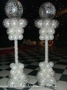 All White candy cane columns. Balloon Centerpieces, Balloon Decorations Party, Wedding Table Decorations, Birthday Party Decorations, Balloon Columns, Balloon Arch, Balloon Garland, Balloon Designs, Balloon Ideas