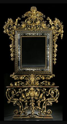 Grand Italian Wall Mirror and Console, 19th Century.