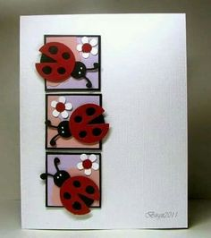 Lady Bugs by Biggan - Cards and Paper Crafts at Splitcoaststampers Punch Art Cards, Ladybug Crafts, Marianne Design, Creative Cards, Kids Cards, Cute Cards, Scrapbook Cards, Scrapbooking, Greeting Cards Handmade