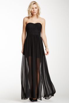 Strapless Embroidered Maxi Dress//
