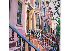 "Brooklyn Fine Art Print Square 8x8, ""Brownstone Row in Brooklyn"" New York City peach pink Cityscape Painting by Gwen Meyerson"