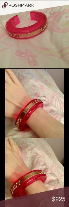 Selling this 💖Christian Dior Hot Pink Bangle With Gold Chain💖 on Poshmark! My username is: ckuller. #shopmycloset #poshmark #fashion #shopping #style #forsale #Christian Dior #Jewelry