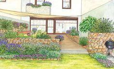 Triste und langweilige Terrassen am Reihenhaus müssen nicht sein. Mit unseren Gestaltungsvorschlägen bekommt der Sitzplatz südländisches Flair und einen passenden Rahmen durch Blumenbeete. (Pflanzplan als PDF zum Herunterladen und Ausdrucken)