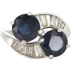 Vintage 900 Platinum Diamond Sapphire Bypass Cocktail Ring Fine Estate Jewelry
