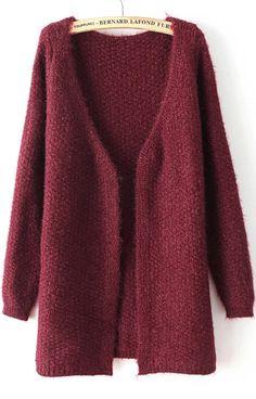 Wine Red V Neck Long Sleeve Loose Knit Cardigan US$23.33