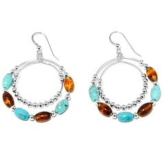 Jay King Turquoise and Amber Circle Drop Earrings