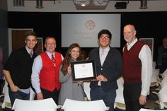 "Congrats to Anderson University's Covenant Productions for being named ""Sponsor of the Year"" by the Heartland Film Festival.  [Photo left to right: AU grad Adam Howell (Director of Operations, Heartland Film), David Armstrong (Operations Director, Covenant Productions®), Rachel Scarpelli (Covenant Productions® Student Manager), Ye Hoon (Josh) Lee (Covenant Productions Student Manager), and Professor Dr. Donald Boggs.]"