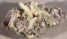 New Find! - Cluster of Pink to Electric Green Tourmaline Straws, Lepidolite, Muscovite, and Possibly Prehnite and/or Quartz by GEMandM on Etsy https://www.etsy.com/listing/264128914/new-find-cluster-of-pink-to-electric