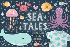 Sea Tales: patterns, stickers, cards by JuliyaS on @creativemarket