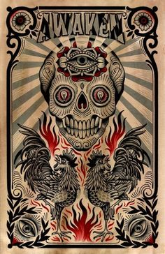 Skull and Roosters