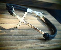 Antique Silver Cross with Black leather bracelet, Bracelet, Charms, Cross braclet, Best Gift Jewelry for men women Online Buy | Personalized Bracelets | Custom Necklace | Wholesale craft supplies - Turntopretty