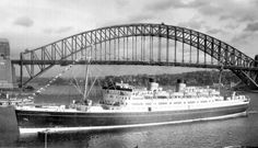 """Union Steam Ship Co - TSS Awatea - """"The fastest ship in the Antipodes"""" Barrow In Furness, Merchant Navy, Sydney Harbour Bridge, New Zealand, Sailing, Ocean, Cruise Ships, Boats, Travel"""