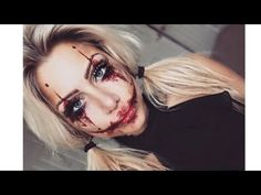 Harley Quinn the joker inspired halloween makeup | beeisforbeeauty - YouTube