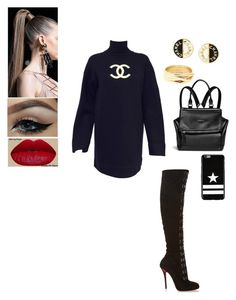 """""""Sans titre #371"""" by insafsat on Polyvore featuring mode, Karl Lagerfeld, Christian Louboutin, Balmain, Givenchy, Chanel et Repossi"""