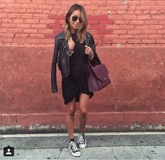 black dress, leather jacket, converse & maroon Zara bag