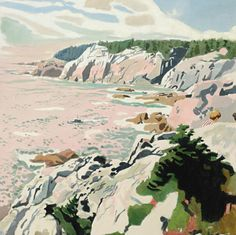 View The cliffs of Isle au Haut by Fairfield Porter on artnet. Browse upcoming and past auction lots by Fairfield Porter. Fairfield Porter, Art Inspo, Kunst Inspo, Painting Inspiration, Art And Illustration, Cartoon Illustrations, Abstract Landscape, Landscape Paintings, Plakat Design