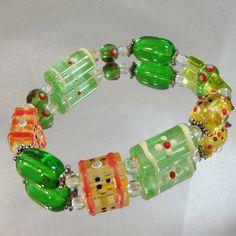 Vintage Glass Bracelet. Green Art Glass Beads. Chunky by waalaa, $29.99