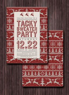Ugly Sweater Party Invites - The Tacky Sweater Predicament - Printable