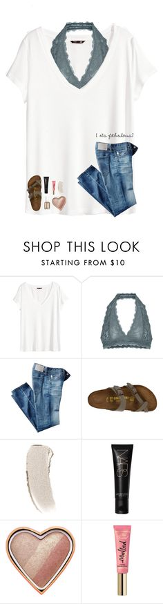 """""""•it's fabulous•"""" by your-daily-prep ❤ liked on Polyvore featuring H&M, Free People, AG Adriano Goldschmied, Birkenstock, Bobbi Brown Cosmetics, NARS Cosmetics, Too Faced Cosmetics and Essie"""