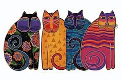 grade checked out the work of Laurel Burch. Laurel was an American artist who is most well-known for her brightly colored and patterned paintings of animals, particularly cats. Laurel Burch, Cat Embroidery, Illustration Art, Illustrations, Cat Quilt, Cat Colors, Cool Ideas, Cat Drawing, Cat Crafts