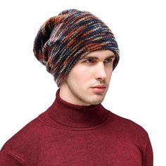 fc747027c8b Beanie Hat Knit Hat Winter Skull Wool Hat Windproof For Men   Women -  C-multicolor - CT185X42A38
