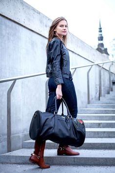 """Weekend bag & Multibag Mini in leather, ideal as travel- & sports bag, accepted as cabin luggage.  The Weekend bag can be worn classic """"simple"""" or you can vary the look via attaching the Multifunctional bag in several different ways. This option comes handy if you don't want to carry along your heavy items, take off the Multibag for your personal belongings and use it separately as a handbag/purse."""