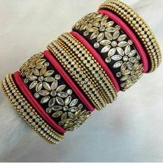 100 Latest Collection of Silk Thread Bangles With Images - Buy lehenga choli online Silk Thread Earrings Designs, Silk Thread Bangles Design, Thread Jewellery, Beaded Jewelry Patterns, Fabric Jewelry, Diy Jewellery, Fashion Jewellery, Jewelry Sets, Handmade Jewelry