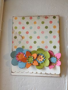 3D Floral with Dot background Homemade card