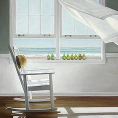 seaview curtain blowing in gentle sea breeze