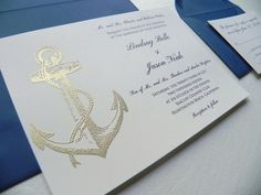4 Piece Gold Nautical Wedding Invitation by WhiteGownInvitations