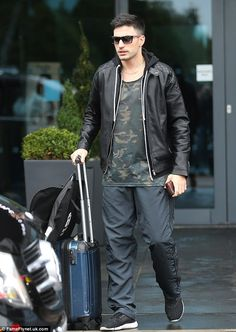 Ready to rumble: Laura's professional dance partner Giovanni Pernice, who made his hotel getaway from a separate exit, looked casually cool in a camo top, hoodie and leather jacket Laura Whitmore, Ready To Rumble, Men's Fashion, Camo Top, Partner Dance, Strictly Come Dancing, Separate, Anna, Bomber Jacket